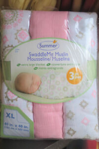 New Summer Infant Muslin Swaddle Blankets Pack of 3