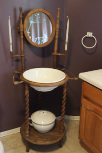 Antique Wash stand basin with mirror and candle holders