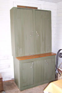 PRIMITIVE COUNTRY STEPBACK CUPBOARD CABINET