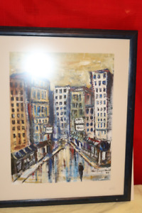 ORIGINAL ART KRIS ENGSTROM  THE CITY  24 X 20