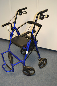 DUAL FUNCTION TRANSPORT WHEELCHAIR WALKER ROLLATOR