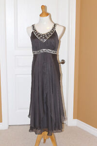 Grey Silver Beaded cocktail dress from Monsoon (UK) fits US 10