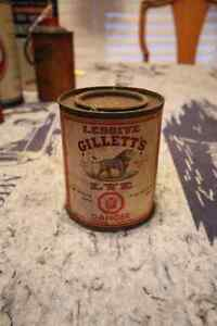 EARLY GILLETT'S LYE PAPER LABEL TIN CAN NICE GRAPHICS