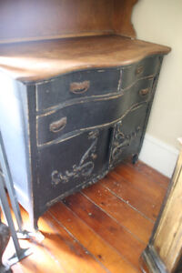 ANTIQUE CABINET PAINTED FRENCH BLACK