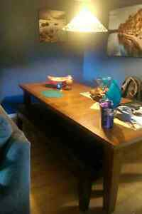 Dining table with new leather bench
