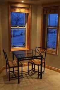 Beautiful Glass Top Wrought Iron Table + 2 Chairs Peterborough Peterborough Area image 2