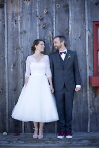 Alfred Sung Strapless Tea Length Gown in Ivory and Lace Topper
