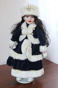 Porcelain Doll with Navy and Fur Winter Jacket