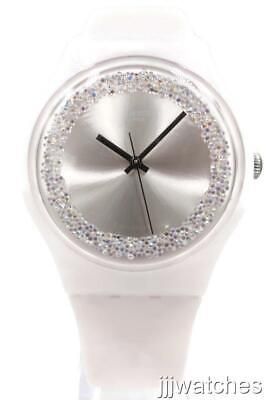 New Swatch Originals PINKSPARKLES Silicone Swarovski Women Watch41mm SUOP110 $85