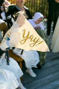 """Wedding - """"Yay!"""" Flags for FLOWER GIRLS - 2 flags"""