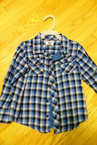 Plaid Shirt from ON size 5T and Blue Hooded Shirt Joe Fresh 5T