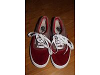 Red and brown unisex Vans UK Size 5