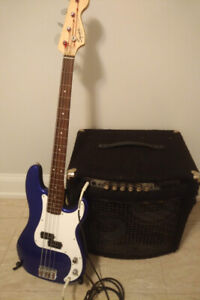 4-string Fender bass guitar package with Yorkville amp + more