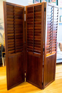 Beautiful Wood Room Divider with Shutters