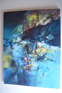 ABSTRACT OIL ON CANVAS PAINTING SIGNED 18 X24 INCHES SIGNED