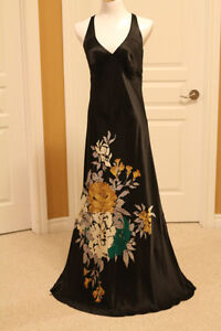 Black Maxi dress with floral print - fits US size 8