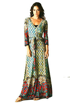 3/4 Sleeve Faux Wrap - NEW  3/4 Sleeve Moroccan Maxi Faux Wrap Dress Bohemian Multi  S M L XL
