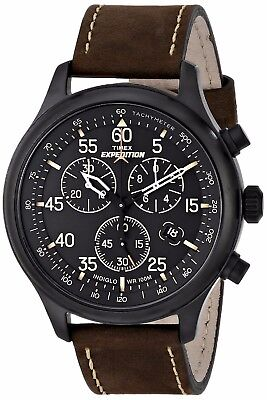 Timex Mens Expedition Field Chronograph Black IP Brown Stitched Leather Watch