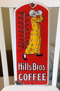 RARE 1920'S PORCELAIN HILLS BROS. COFFEE THERMOMETER