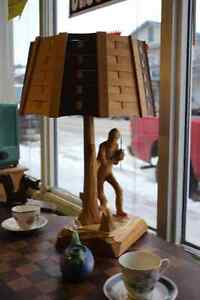 "CARVED WOOD AX MEN  22"" LAMP"