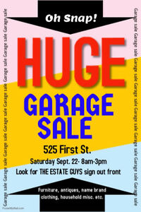 MASSIVE INDOOR GARAGE SALE !!! SEPT. 22, 2018