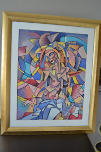 CUBIST OIL ON CANVAS NUDE PAINTING 24 X 20 INCHES MINT
