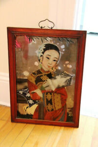 Antique Reverse Glass Painting - Chinese Art