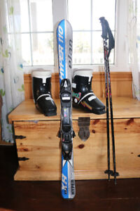 Youth skis, poles and boots