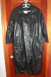 Ladies Plus Size Long Black Leather Coat