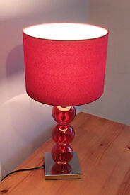 Premier Housewares Mistro Table Bedside Lamp with 3 Red Balls Chrome Base RRP £36.99