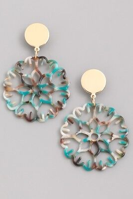 NEW DESIGNER INSPIRED FLORAL FLOWER CELLULOID MULTI COLOR EARRINGS Designer Floral Earrings