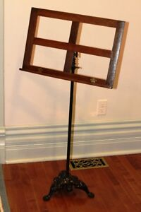 Antique WATERLOO Music Stand w/ Cast Iron Base