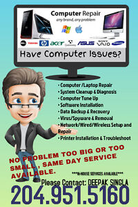 Having Computer and Printer Problems!!!Call Now 204-951-5160