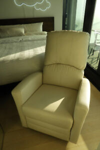 Good Condition - White Leather Glider/Rocking Chair