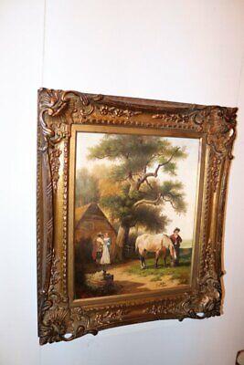 """Gemälde Öl auf Holz """"Reiter mit Pferd"""",gerahmt , signiert R.van Vliet /a592"""