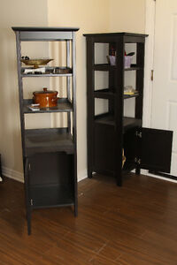 IKEA Hemnes solid pine shelf units with door.