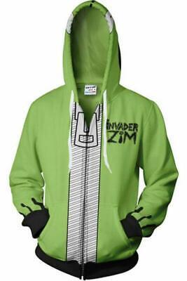 Invader ZIM Costume Printed Men Zipper Sweater Hoodie Sweatshirt Jacket (Invader Zim Hoodie)