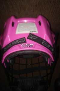Pink CCM Hockey Helmet with black mask