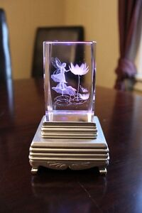 Etched Glass Paper Weight with Light Stand