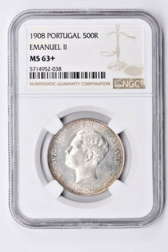 1908 Portugal 500 Reis NGC MS 63+, Emanuel ll Witter Coin