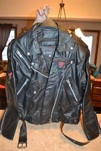 Manteau et veste de cuir broder PINK LADY (Boutique de moto)