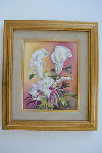 "ORIGINAL OIL ON CANVAS FLOWERS PAINTING SIGNED 16"" x 14"""