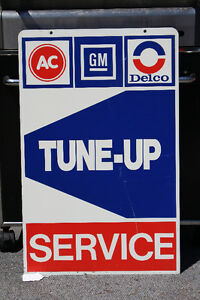 NOS AC DELCO GM TUNE-UP SERVICE METAL DOUBLE SIDED SIGN