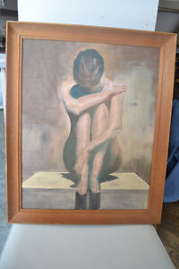 VINTAGE NUDE OIL ON CANVAS PAINTING SIGNED 23 x 19 INCHES