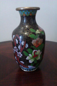 """Chinese vase cloisonne 5"""" collectible usable"""