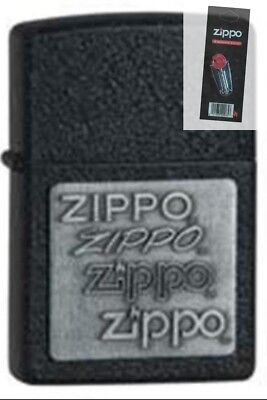 Zippo Pewter Emblem Black Crackle - Zippo 363 pewter emblem black crackle Lighter + FLINT PACK