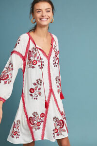 Anthropologie Embroidered Tunic Dress size M Reg price $218 sell