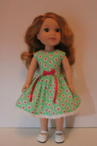 American Girl Wellie Wishers Green Floral Dress