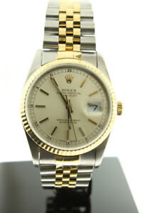 ROLEX DATEJUST 18K GOLD & STAINLESS STEEL SILVER DIAL 36MM 16233