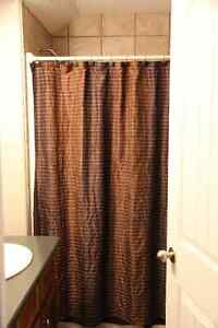 Shower curtain and dark brown fabric liner and hooks Strathcona County Edmonton Area image 1
